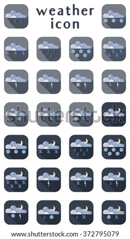 Set of weather icons. Part 2. Vector illustration. Cartoon style. - stock vector