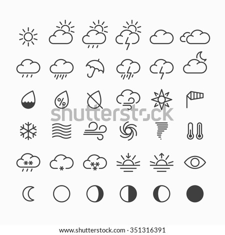 Set of weather icons. Vector. - stock vector