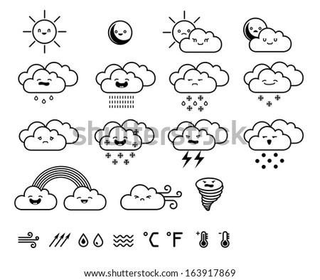 Set of weather icons. Vector illustration. - stock vector