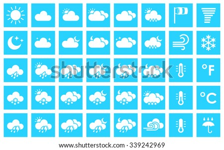 Set of weather icons. Vector illustration for your design solution of blue color. Eps 10. Clear sky. Cloudy weather. Increased cloudiness. Sunshine. Sunlight. Tornado. Blizzard - stock vector