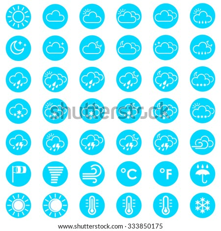 Set of weather icons. Vector illustration for your design solution of blue color. Eps 10. Eclipse. Clear sky. Cloudy weather. Increased cloudiness. Sunshine. Sunlight. Tornado. Blizzard - stock vector