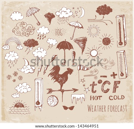 Set of weather symbols sketch in vintage style. Vector illustration of weather icons.. - stock vector