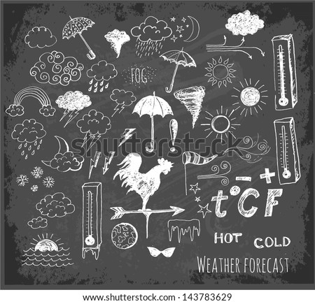 Set of weather symbols sketch on blackboard. Vector illustration of weather icons.. - stock vector
