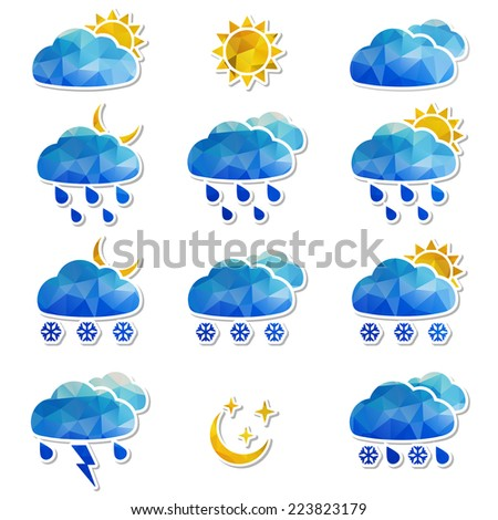Set of Weather with triangles pattern. Vector illustration. - stock vector
