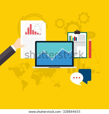 Set of web analytics information and development website statistic. Flat icons. Vector illustration.