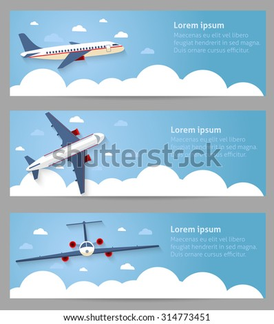 Set of web banners. Flight of the plane in the sky. Passenger planes, airplane, aircraft, flight, clouds, sky, sunny weather. Color flat icons. Vector illustration - stock vector