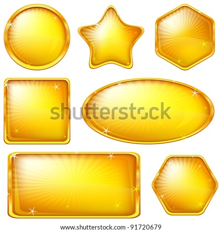 Set of web buttons of gold, different forms. Eps10: contains transparency. Vector - stock vector