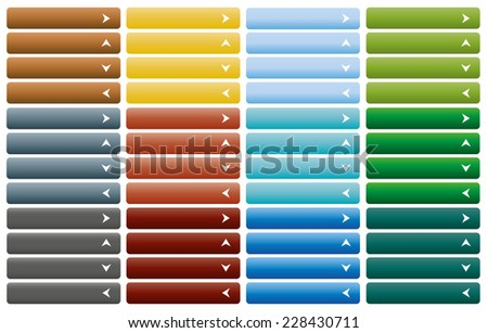 Set of web buttons with arrow in color combination - stock vector