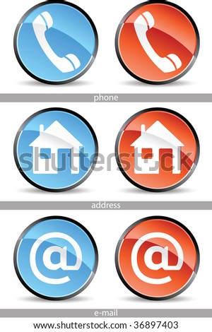 set of web contact buttons in red and blue - stock vector
