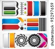 Set of web design elements - buttons, banners, borders, ribbons, stars and labels. - stock vector