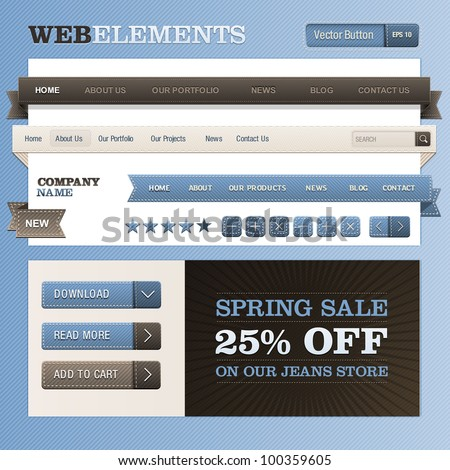 Set of web elements - stock vector