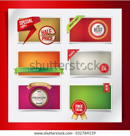 Set of web elements for products promotions - stock vector