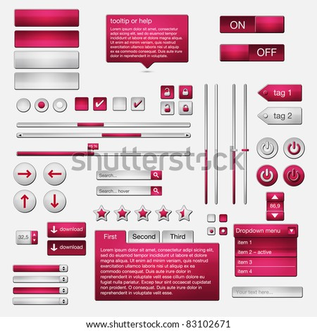 Set of web elements - vector file - easily customizable - stock vector