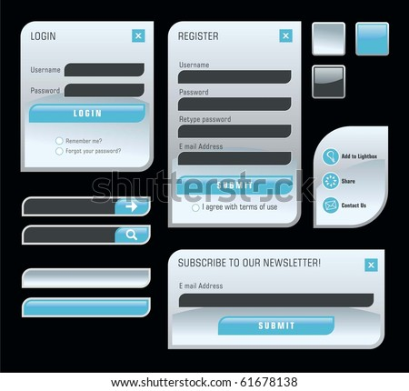 Set of web forms - stock vector