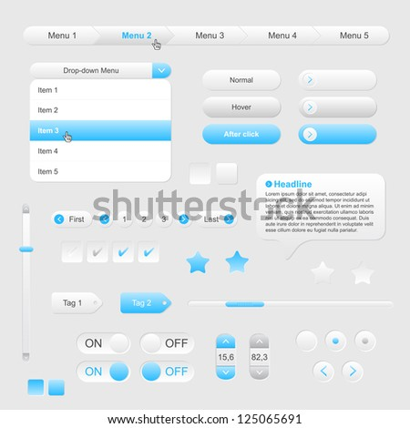 Set of web gray/blue elements - vector file - stock vector