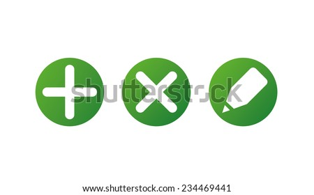 Set of web icons and buttons: add, edit, remove - stock vector