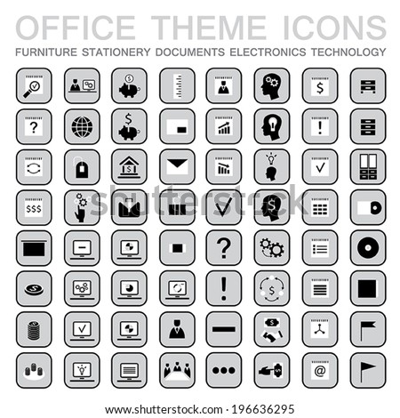 Set of 64 web icons for business. Office theme: furniture,stationery,signs,documents,technology and etc. Part 2. Vector illustration