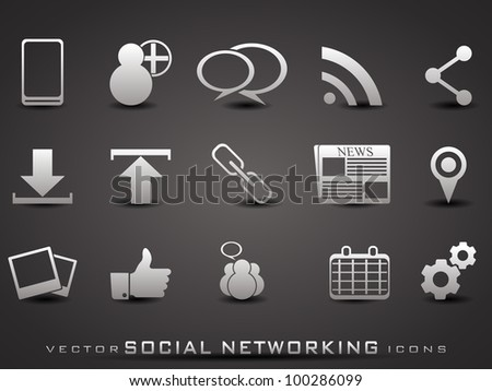 Set of web 2.0 icons for web applications, Internet & website icons and social networking icons  on grey background. EPS 10. Vector illustration. - stock vector