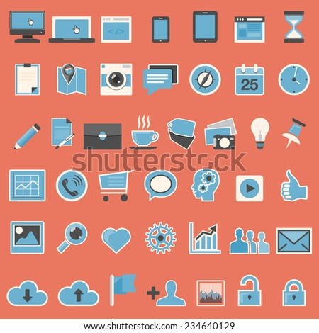 Set of web icons in flat design - vector illustration - stock vector