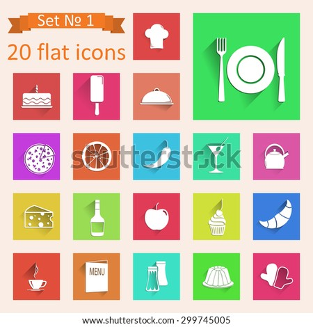 Set of web icons on a theme of cooking and cuisine.