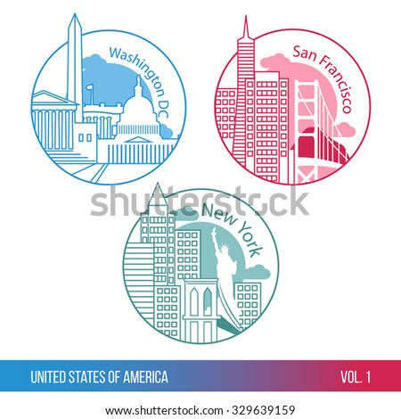 Set of web icons or Logo for tourism or political company. Biggest cities of USA. New york, Washington DC and San Francisco. One line trendy style. Modern flat design. Round composition. - stock vector