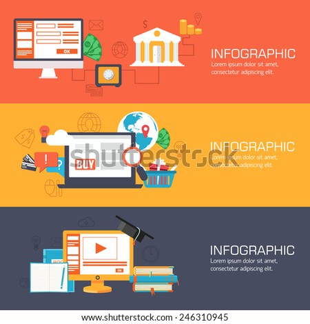 set of web internet technology of business, online banking and education banners flat design. Vector illustrations backgrounds in vintage style concepts. Template for website and mobile appliance - stock vector
