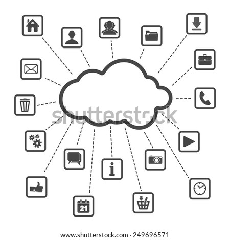 set of web, multimedia and business icons on a white background - internet of things - stock vector