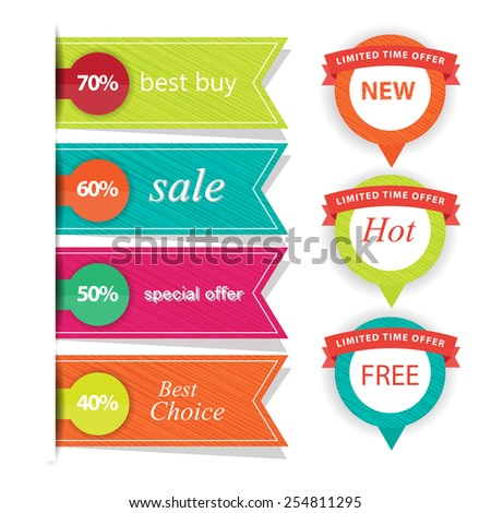 set of web Sale Labels and badges. vector - stock vector