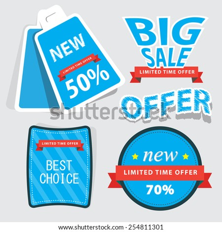 set of web Sale Labels and badges. vector