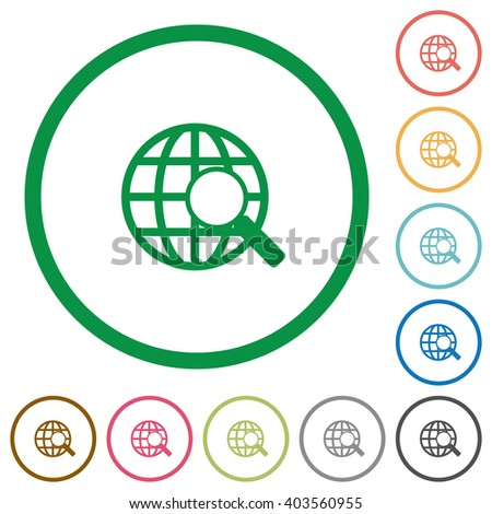 Set of Web search color round outlined flat icons on white background - stock vector