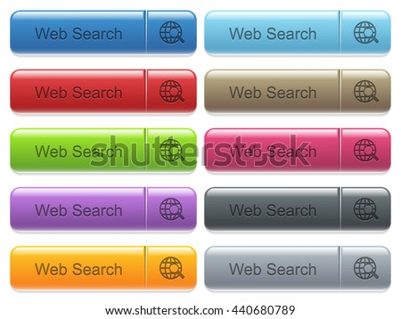 Set of web search glossy color captioned menu buttons with engraved icons - stock vector