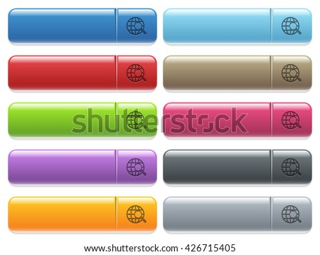 Set of web search glossy color menu buttons with engraved icons - stock vector
