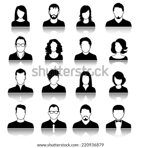Set of web user icons. Vector illustration. Silhouette of man and woman