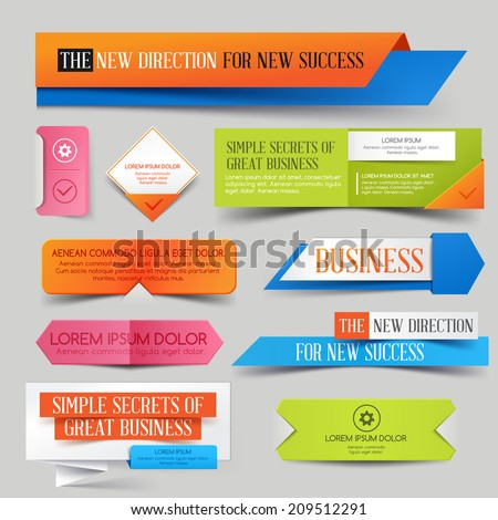 Set of  Website Banner. Vector illustration. Sale Discount Styled - stock vector