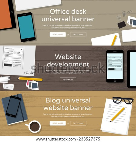 Set of website banners - office workplaces - Website development, Office desk, Blog website banner - stock vector