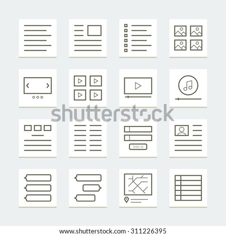 Set of website elements for template - stock vector