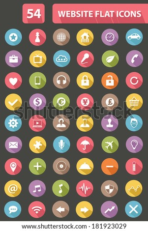 Set Of Website Flat Icons,Colorful version,vector