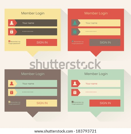 Set of website login form templates, modern flat user interface - stock vector
