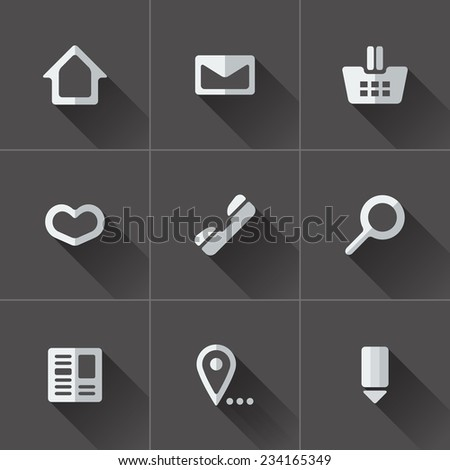 Set of website menu icons. Flat design in black and white - stock vector