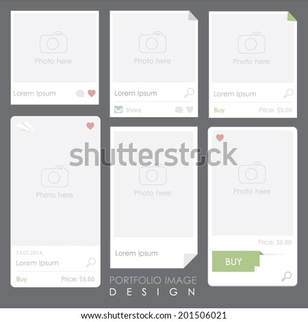 set of website portfolio image gallery mockup - stock vector