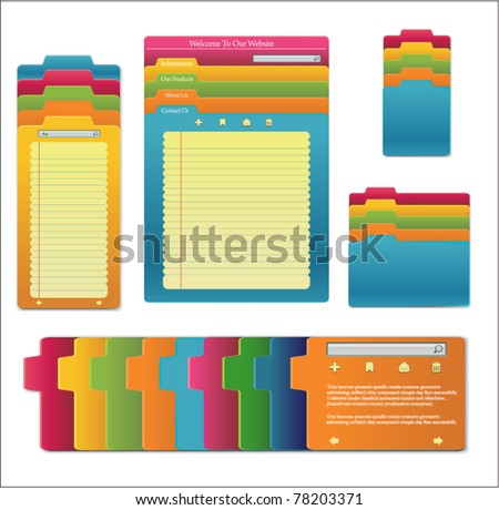 Set website template design notebooks colored stock vector for Notebook with colored pages