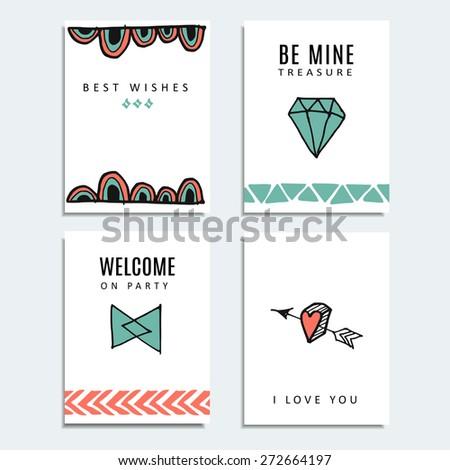 Set Wedding Birthday Cards Hipster Design Stock Vector 272664197