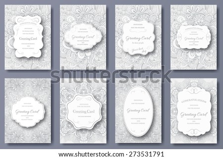 Set of wedding card flyer pages ornament illustration concept. Vintage art traditional, Islam, arabic, indian, ottoman motifs, elements. Vector decorative retro greeting card or invitation design.  - stock vector