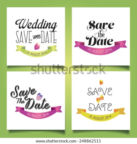 Set of wedding cards and decorative elements. Vector illustration