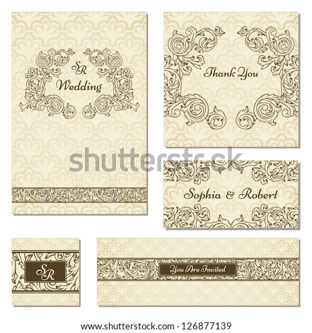 Set of wedding cards in vintage style - stock vector