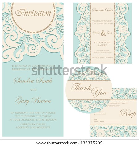 Set of wedding cards (invitation, thank you card, save the date card, RSVP card) - stock vector