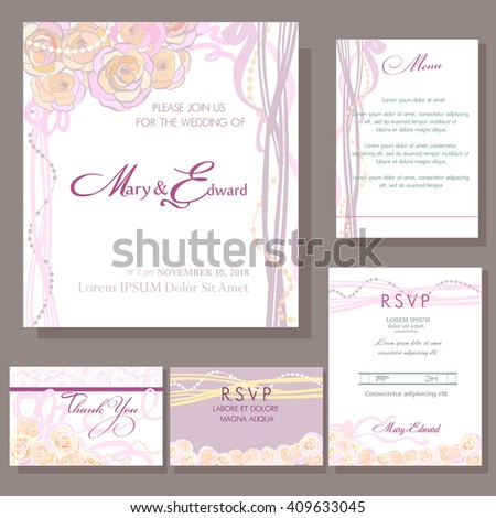 Set of wedding cards or announcement with small rose wedding bouquet. RSVP, menu card