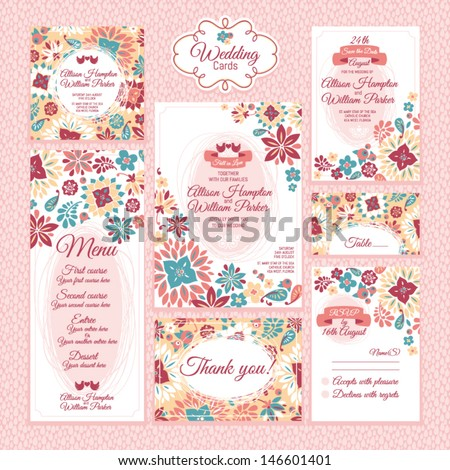 Set 3 of wedding cards. Wedding invitations, Thank you card, Save the date card, Table card, RSVP card and Menu.