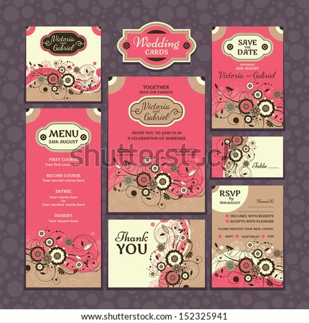 Set of wedding cards. Wedding invitations. Thank you card. Save the date card. Table card. RSVP card and Menu. - stock vector