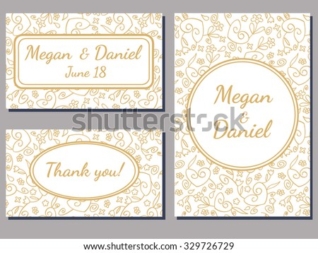 set of wedding cards with a curly golden ornate over white background - stock vector